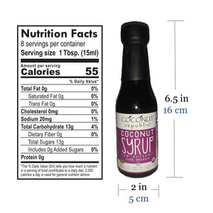 Coconut Republic® Certified 100% Organic Sugar 120 ml nutrition facts and size. Made in the Philippines.