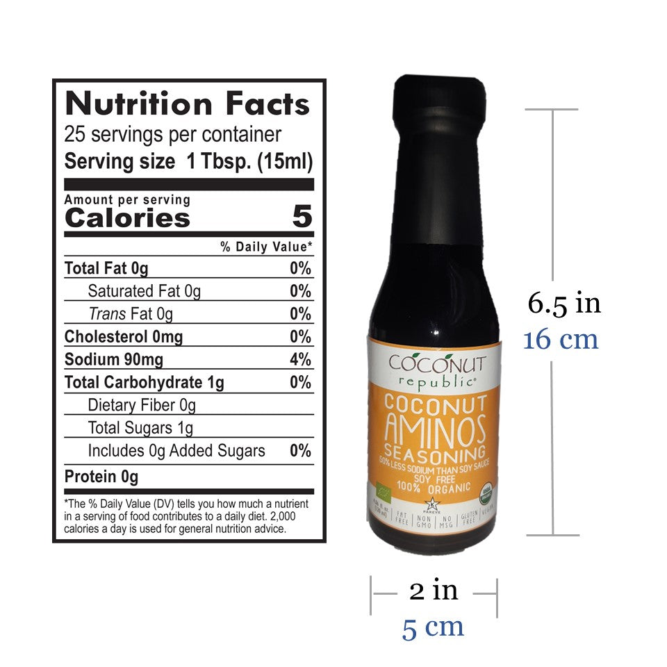 Coconut Republic® Coconut Aminos Seasoning 120 ml nutrition facts and product size. Made in the Philippines.