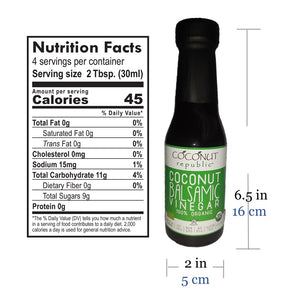 Coconut Republic®  Coconut Balsamic Vinegar 120 ml nutrition facts and product size. Made in the Philippines.