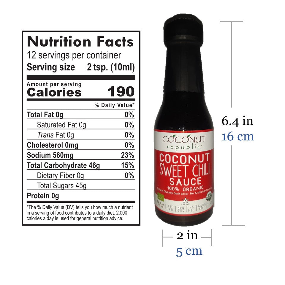 Coconut Republic®  Coconut Sweet Chili Sauce 120 ml nutrition facts and product size. Made in the Philippines.