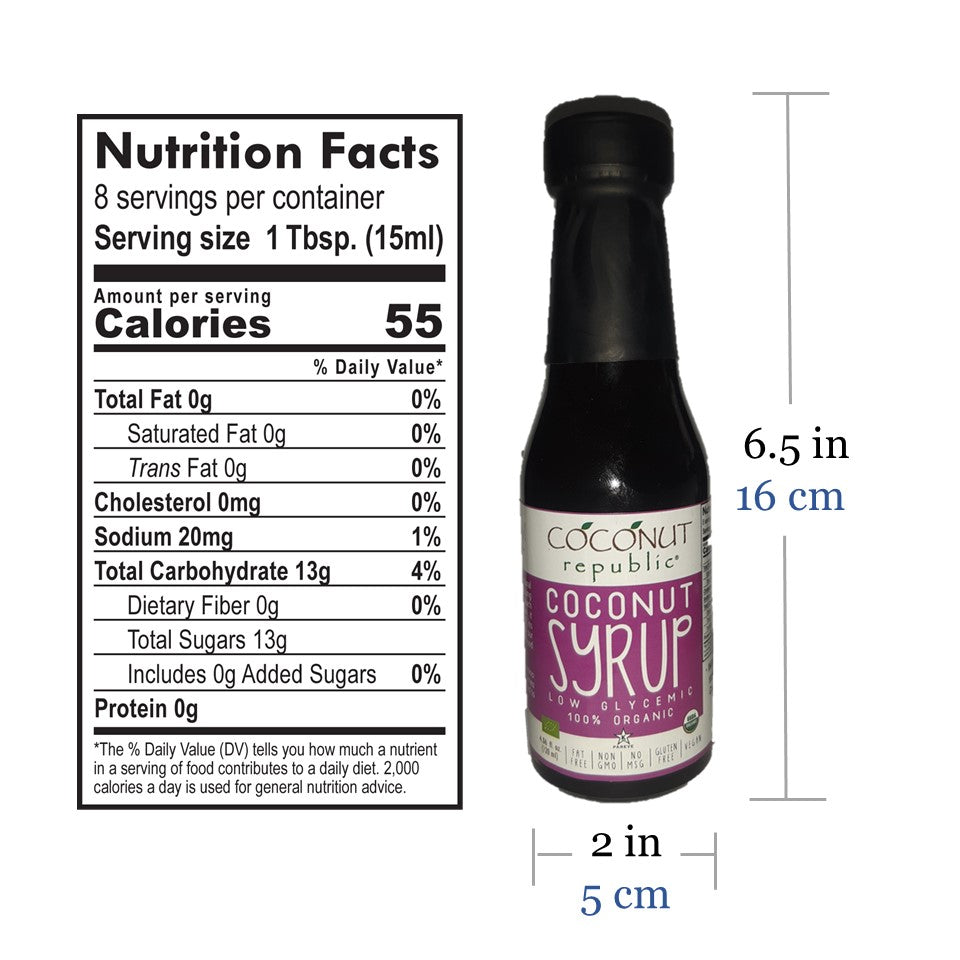 Coconut Republic® Coconut Syrup 120 ml nutrition facts and product size. Made in the Philippines.