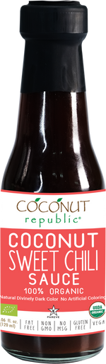 Coconut Republic®  Coconut Sweet Chili Sauce 120 ml. Made in the Philippines.