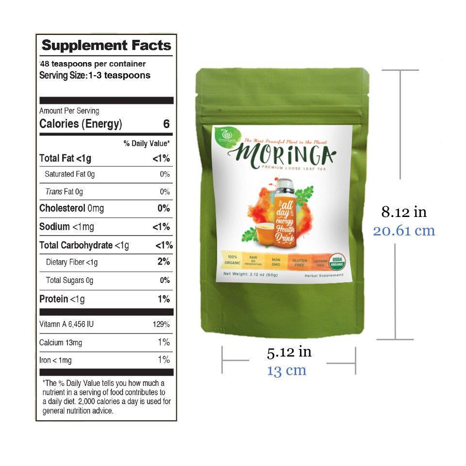 Nutrition facts and product size of GreenEarth Certified 100% Organic Moringa Loose Leaf Tea 60g in lime pouch. Made in the Philippines.