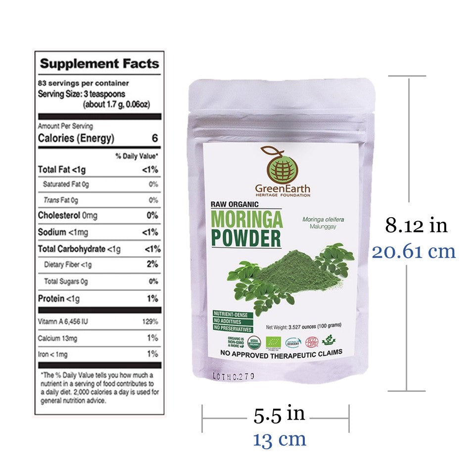 Nutrition facts and size of Moringa Powder 100 g in White Pouch by GreenEarth