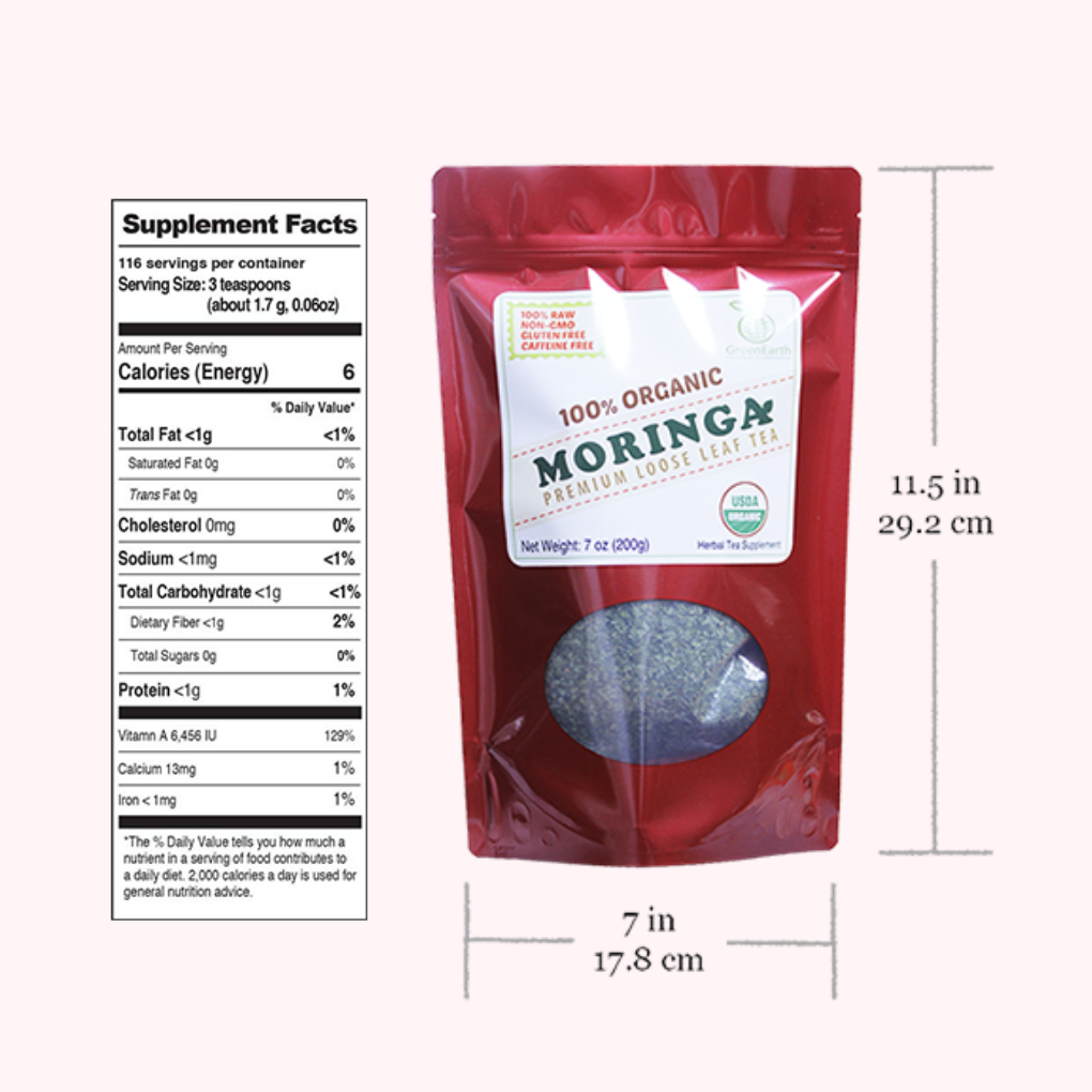 GreenEarth  Certified 100% Organic Moringa Loose Leaf Tea 198.5 g nutrition facts and product size. Made in the Philippines.