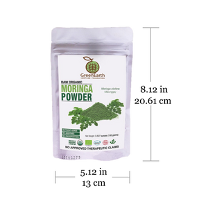 Size of Moringa Powder 100 g by in White Pouch by GreenEarth