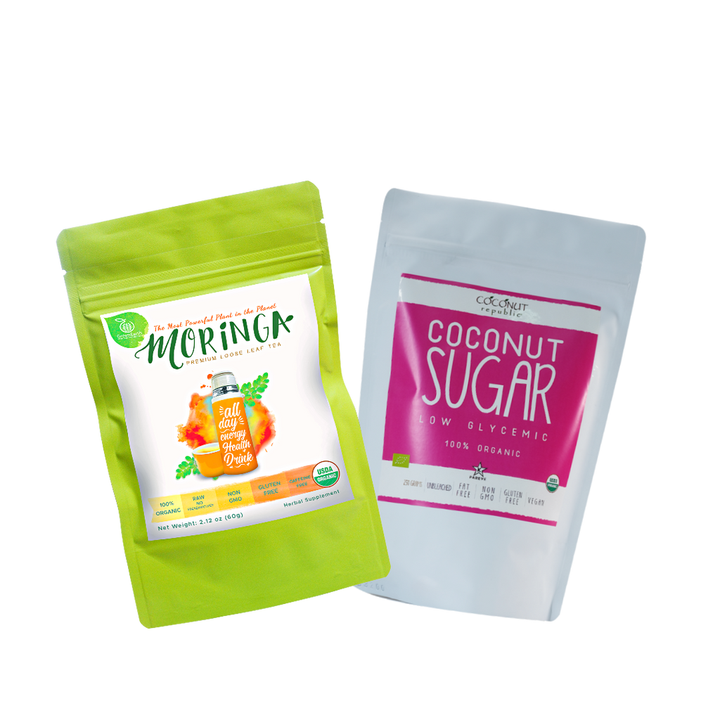 Sweet Moringa Tea  Combo Pack1 (Set of 2) has Certified 100% Organic GreenEarth  Moringa Loose Leaf Tea 60g and Coconut Republic Coconut Sugar 250 g. Made in the Philippines.