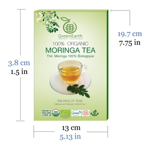 Product size of GreenEarth Certified 100% Organic Loose Leaf Moringa Tea 100 g in Classic Box. Made in the Philippines.