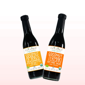 The Coconut Republic® Saucy set of 2 has Certified 100% Organic soy-free Coconut Aminos Seasoning 375 ml and Coconut Teriyaki Sauce 375 ml. Made in the Philippines.