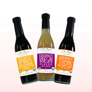 The Coconut Republic® Saucy set of 3 has Certified 100% Organic soy-free Coconut Aminos Seasoning 375 ml, Coconut Teriyaki Sauce 375 ml, Coconut Vinegar 375 ml. Made in the Philippines.