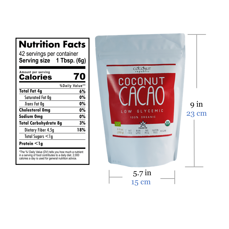 Coconut Republic® Organic Cacao 250g nutrition facts and product size. Made in the Philippines.
