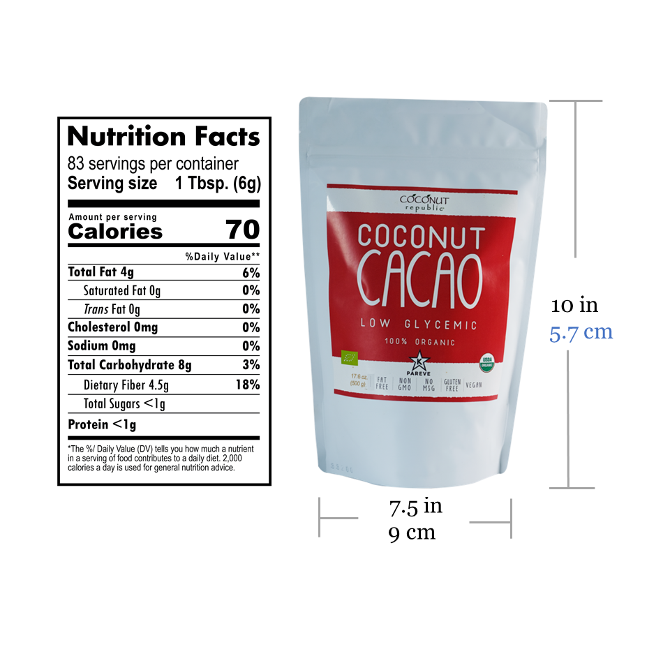 Coconut Republic® Organic Cacao 500g nutrition facts and product size. Made in the Philippines.