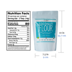 Coconut Republic® Organic  Flour 500g nutrition facts and product size. Made in the Philippines.