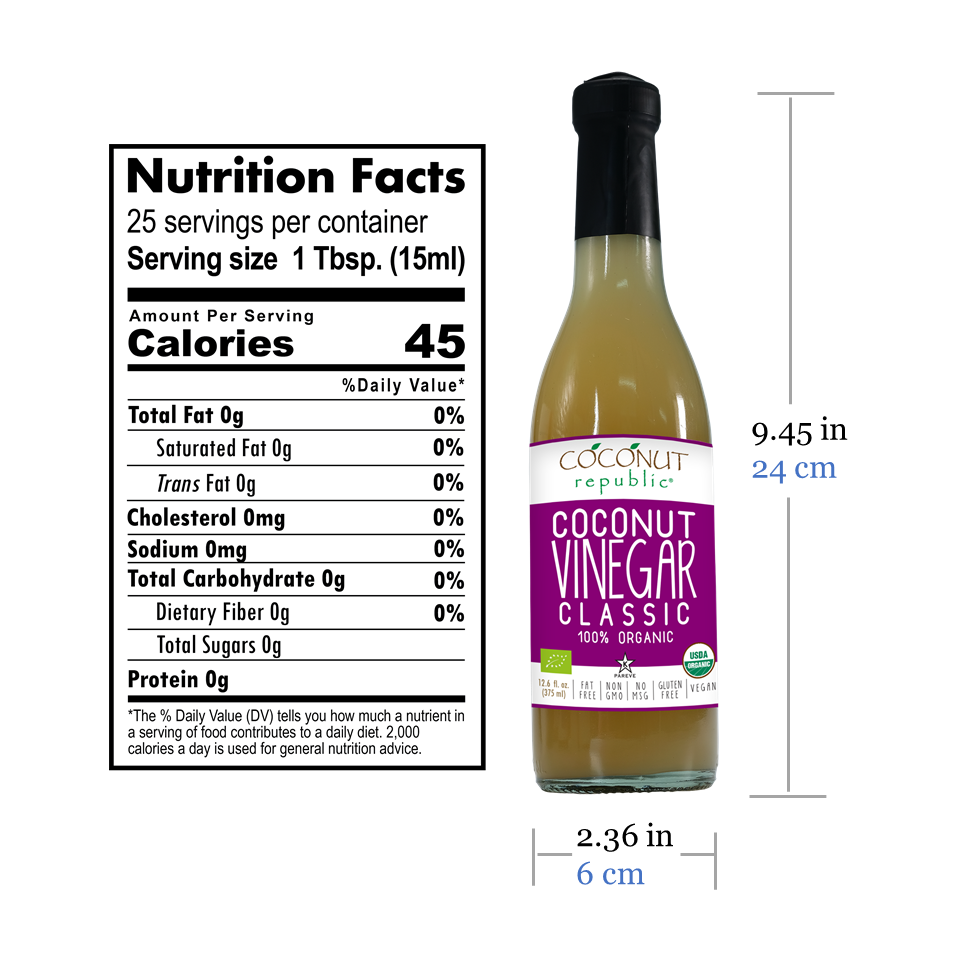 Coconut Republic®  Coconut Vinegar Sauce 375 ml nutrition facts and product size. Made in the Philippines.