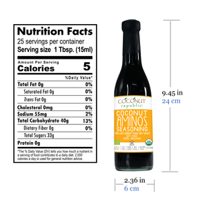 Coconut Republic® Coconut Aminos Seasoning 375 ml nutrition facts and product size. Made in the Philippines.