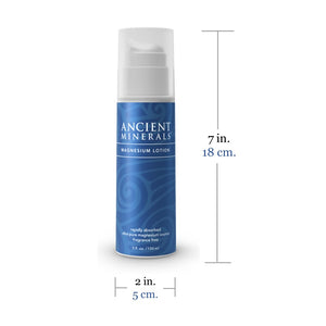 Size of Ancient Minerals Magnesium Lotion 5 oz. Made in the USA.