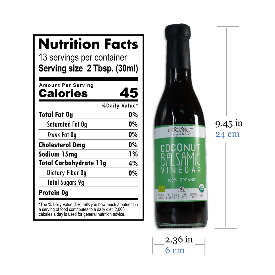 Coconut Republic®  Coconut Balsamic Vinegar 375 ml nutrition facts and product size. Made in the Philippines.