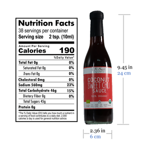 Coconut Republic®  Coconut Sweet Chili Sauce 375 ml nutrition facts and product size. Made in the Philippines.