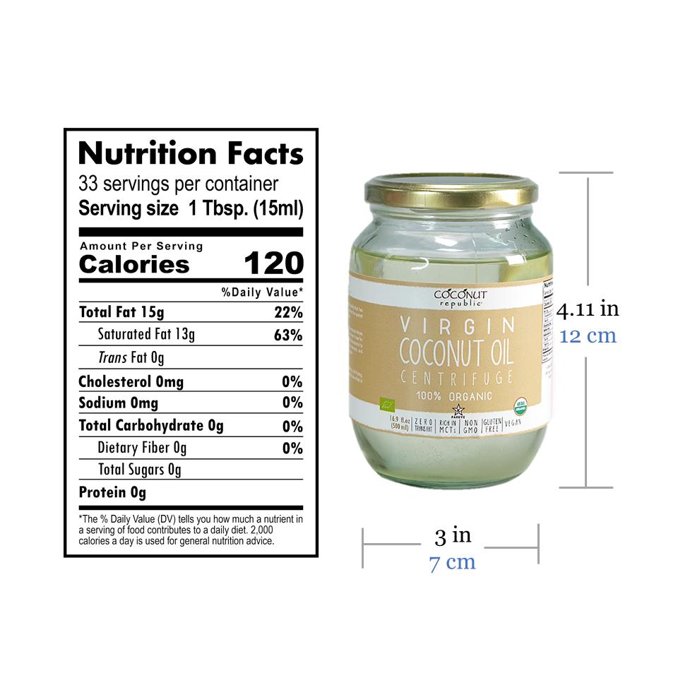 Coconut Republic®  Virgin Coconut Oil 470 ml nutrition facts and product size. Made in the Philippines.