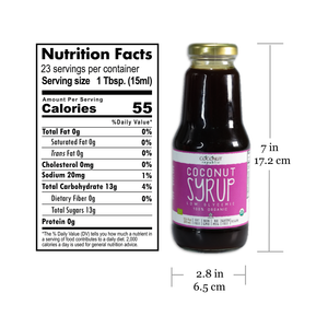 Coconut Republic® Coconut Syrup 350 ml nutrition facts and product size. Made in the Philippines.
