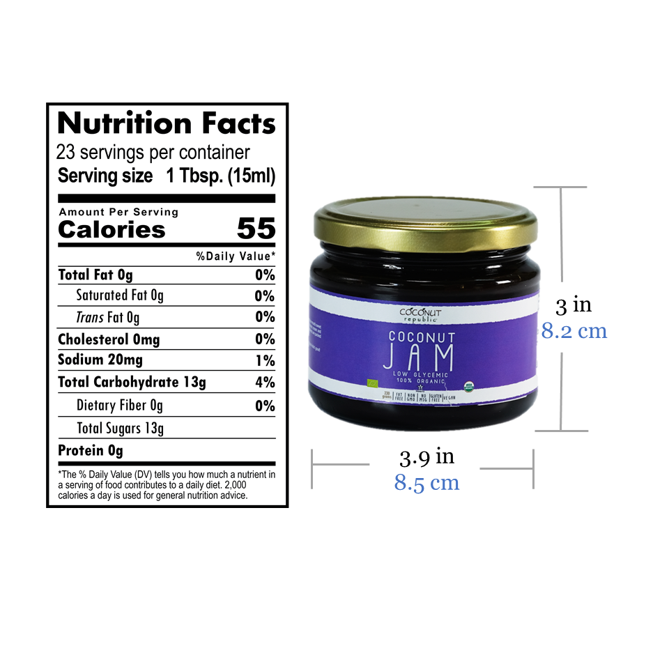 Coconut Republic® Coconut Jam 330g nutrition facts and product size. Made in the Philippines.