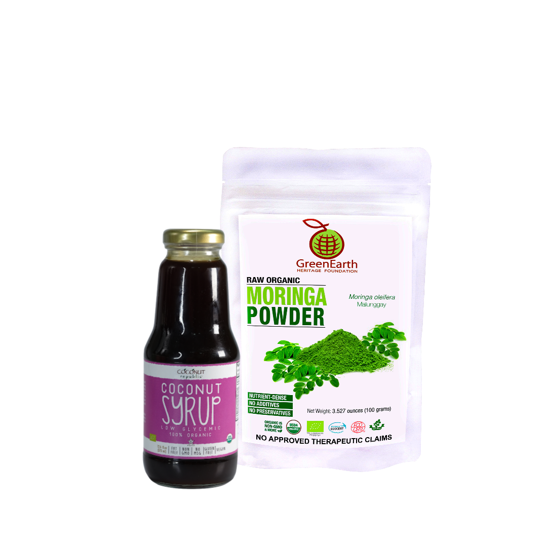 Smoothie Moringa Miracle Combo2 Set of 2 has GreenEarth Certified 100% Organic Moringa Powder 100g and Coconut Republic® Coconut Syrup 350 ml. Made in the Philippines.