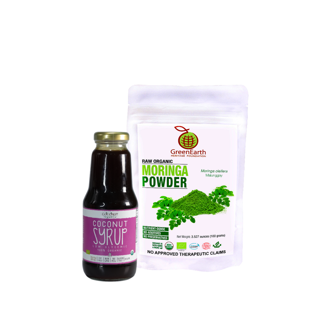 Smoothie Moringa Miracle Combo1 Set of 2 has GreenEarth Certified 100% Organic Moringa Powder 100g and Coconut Republic® Coconut Syrup 350 ml. Made in the Philippines.