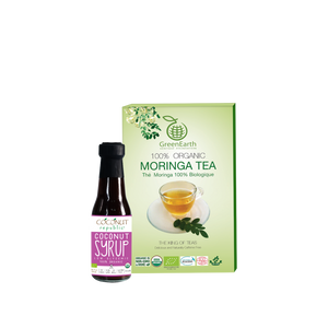 Sweet Moringa Tea Combo12 (Set of 2) has Certified 100% Organic GreenEarth  Moringa Loose Leaf Tea 100 g in Classic Box and Coconut Republic Coconut Syrup 120ml. Made in the Philippines.