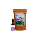 Sweet Moringa Tea  Combo6 (Set of 2) has Certified 100% Organic GreenEarth  Moringa Loose Leaf Tea 142g and Coconut Republic Coconut Syrup 120ml. Made in the Philippines.