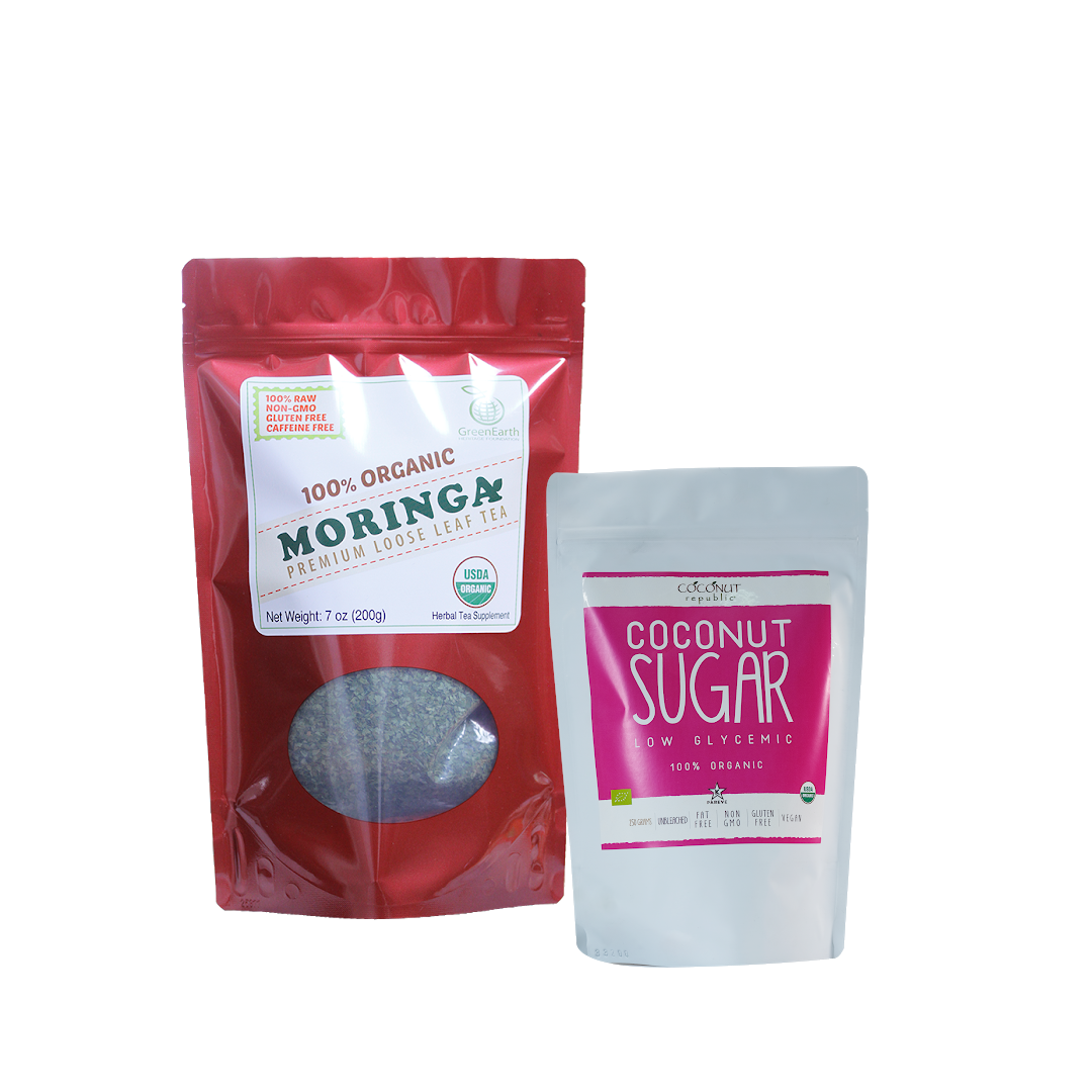 Sweet Moringa Tea  Combo7 (Set of 2) has Certified 100% Organic GreenEarth  Moringa Loose Leaf Tea 198.5 g and Coconut Republic Coconut Sugar 250 g. Made in the Philippines.