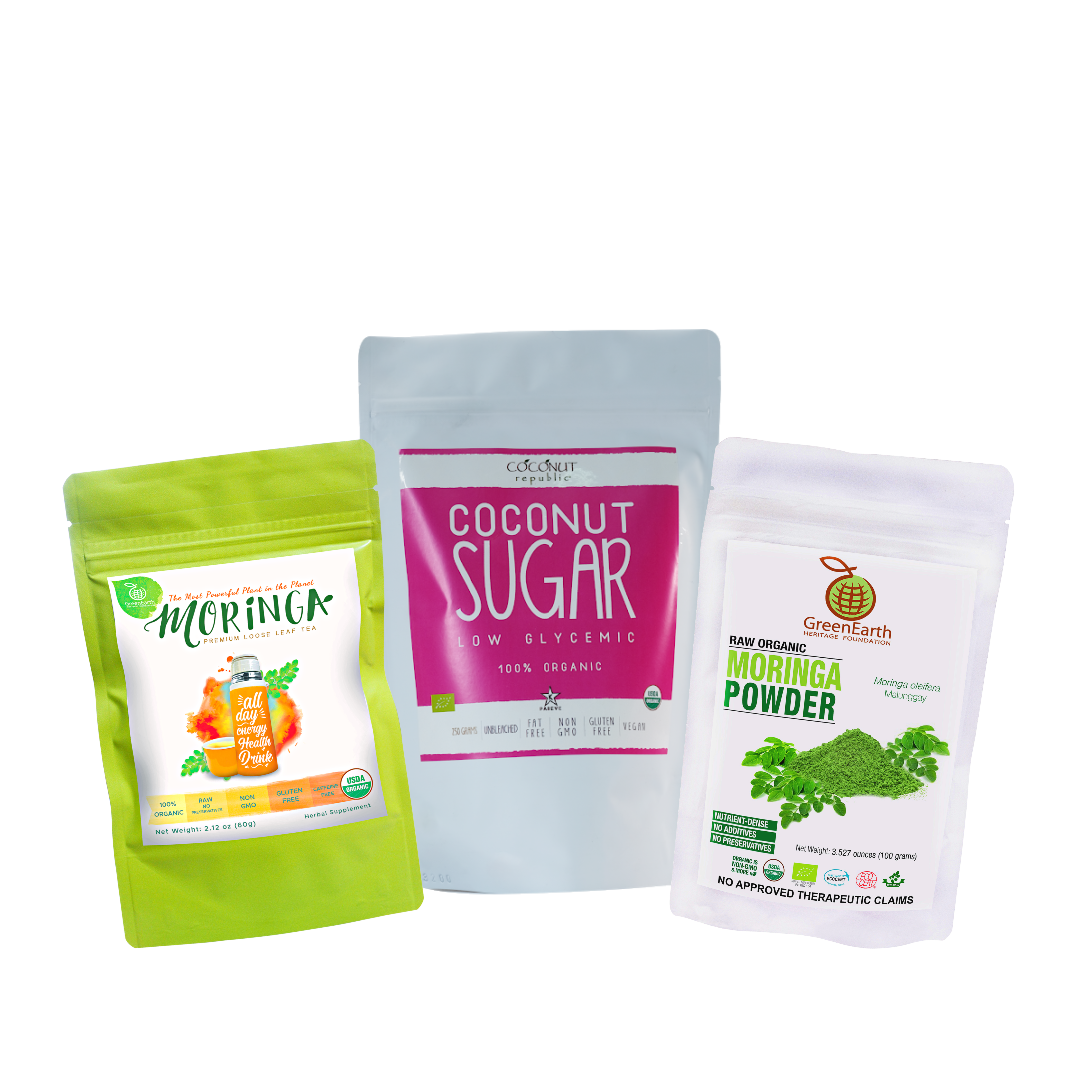 Triple Treat Energizer Combo 1 (Set of 2) has Certified 100% Organic GreenEarth  Moringa Loose Leaf Tea 60 g, Moringa Powder 100 g, and Coconut Republic Coconut Sugar 250 g. Made in the Philippines.