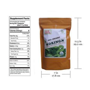 GreenEarth  Certified 100% Organic Moringa Loose Leaf Tea 142gnutrition facts and product size. Made in the Philippines.