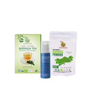 Immunity Booster Coco-Moringa Power Pack16 (Set of 3) GreenEarth Certified 100% Organic Moringa Loose Leaf Tea 100g in classic GreenEarth box, Moringa Powder 100 g by in white resealable pouch, and Ancient Minerals Magnesium Lotion 5 oz.made of certified organic oils in eco-friendly non-breakable bottle with pump.