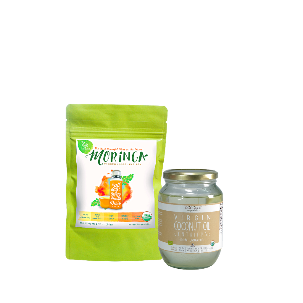 Immunity Booster Coco-Moringa Pack2 (Set of 2) contains GreenEarth  Certified 100% Organic Moringa Loose Leaf Tea 60 g in lime resealable pouch and Coconut Republic®  Certified 100% Organic Virgin Coconut Oil 470 ml in glass jar. Made in the Philippines.