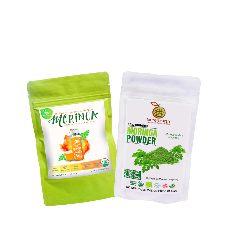 Moringa Miracle Twin Treat Pack  (Set of 2) Certified 100% Organic GreenEarth  Moringa Loose Leaf Tea 60g and Moringa Powder 100g. Made in the Philippines.
