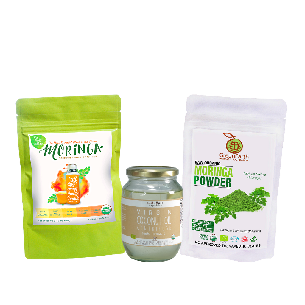 Immunity Booster Coco-Moringa Power Pack3 (Set of 3) contains GreenEarth Certified 100% Organic Moringa Loose Leaf Tea 60g in lime resealable pouch, Moringa Powder 100 g in white resealable  pouch, and Coconut Republic® Certified 100% Organic Virgin Coconut Oil 470 ml in glass jar. Made in the Philippines.