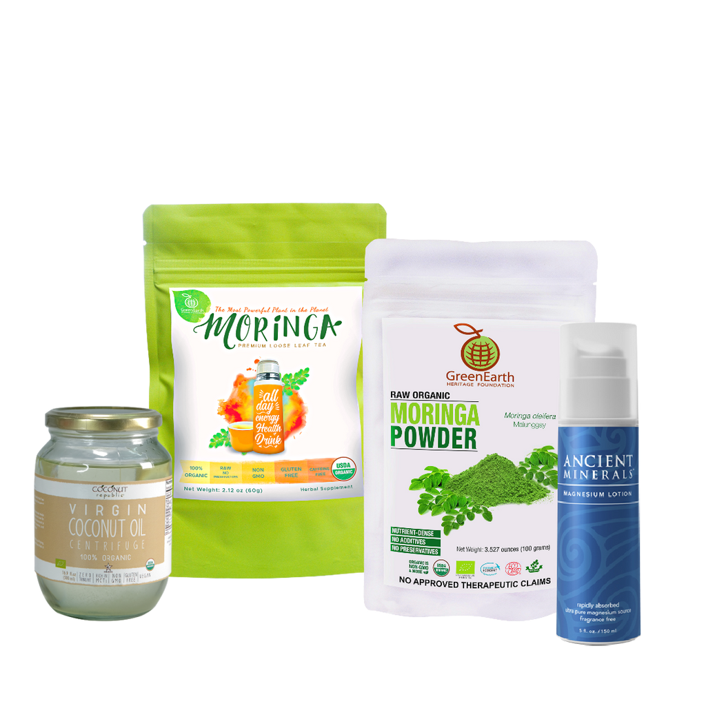 Immunity Booster Coco-Moringa Power Pack5 (Set of 4) contains GreenEarth Certified 100% Organic Moringa Loose Leaf Tea 60 g in lime resealable pouch, Moringa Powder 100 g in white resealable pouch,  Coconut Republic®  Certified 100% Organic Virgin Coconut Oil 470 ml in  glass jar and Ancient Minerals Magnesium Lotion 5 oz. made of certified organic oils in eco-friendly non-breakable blue bottle with pump.