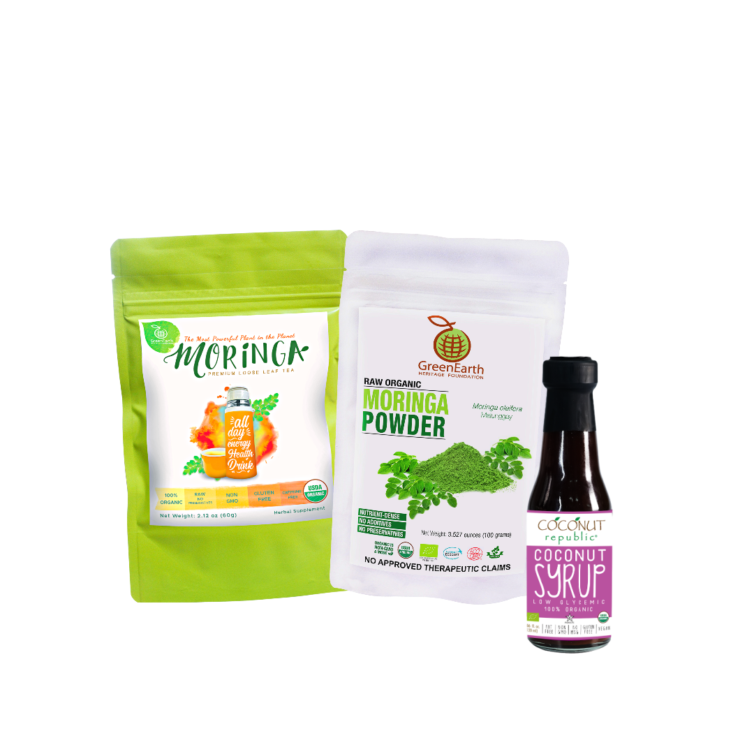 Triple Treat Energizer Combo3 (Set of 3) has Certified 100% Organic GreenEarth  Moringa Loose Leaf Tea 60 g, Moringa Powder 100 g, and Coconut Republic Coconut Syrup 120 ml. Made in the Philippines.