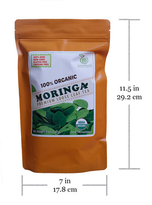 Nutrition facts and product size of GreenEarth Certified 100% Organic Regular Loose Leaf Moringa Tea 142 g in ORANGE Pouch. Made in the Philippines.