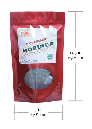 Product size of GreenEarth Certified 100% Organic Super Saver Loose Leaf Moringa Tea 198.5 g in RED Pouch. Made in the Philippines.