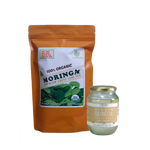 Immunity Booster Coco-Moringa Pack6 (Set of 2) contains GreenEarth  Certified 100% Organic Moringa Loose Leaf Tea 142 g orange resealable pouch and Coconut Republic®  Certified 100% Organic Virgin Coconut Oil 470 ml in glass jar.