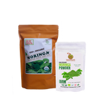 Regular Loose Leaf Moringa Tea 142 g in ORANGE Pouch paired with Moringa Powder 100 g in White Pouch by GreenEarth