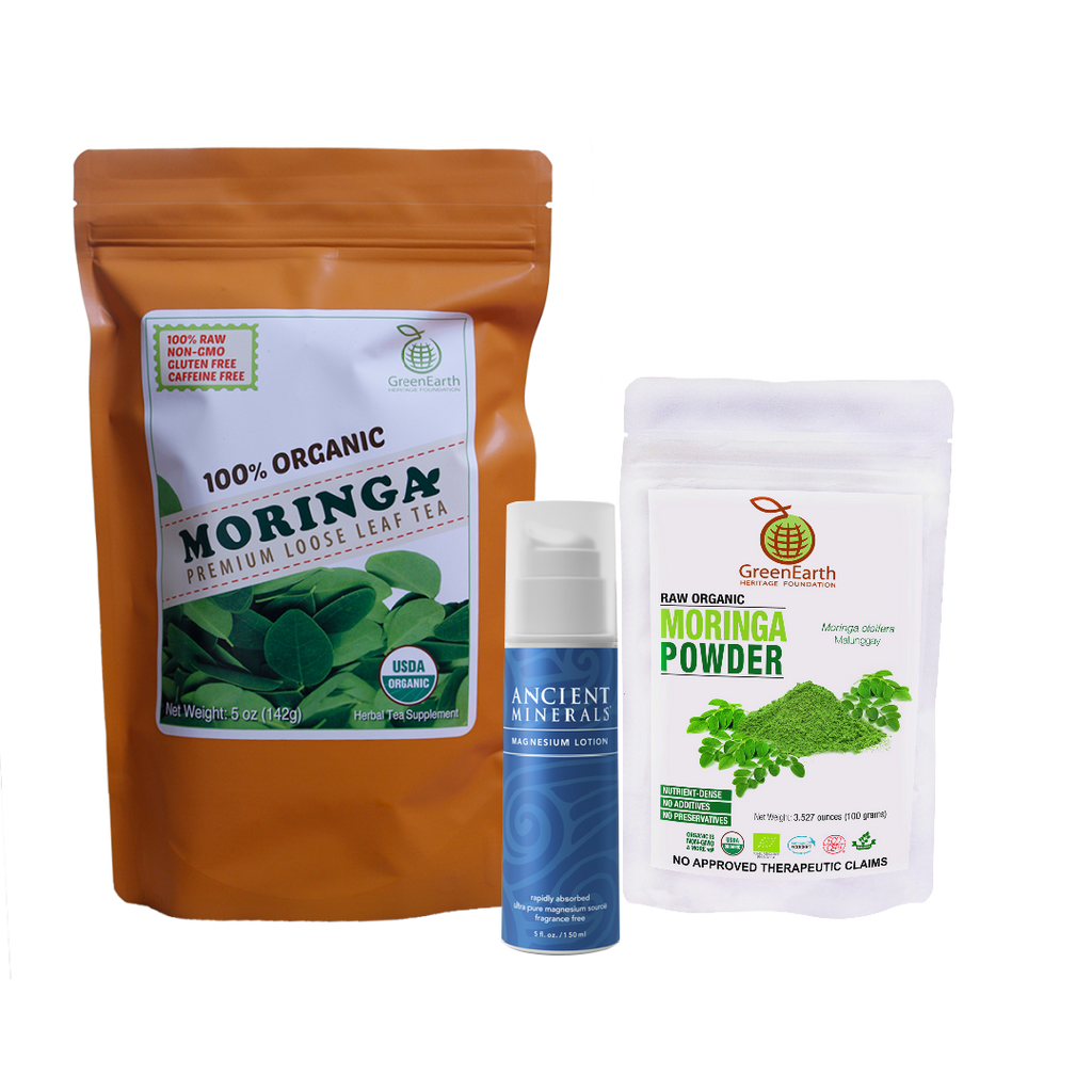 Immunity Booster Coco-Moringa Power Pack8 (Set of 3) GreenEarth Certified 100% Organic Moringa Loose Leaf Tea 142g in orange resealable pouch, Moringa Powder 100 g by in white resealable pouch, and Ancient Minerals Magnesium Lotion 5 oz.made of certified organic oils in eco-friendly non-breakable bottle with pump.