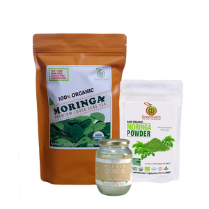 Immunity Booster Coco-Moringa Power Pack7 (Set of 3) contains GreenEarth Certified 100% Organic Moringa Loose Leaf Tea 142 g in orange resealable pouch, Moringa Powder 100 g in white resealable pouch, and Certified 100% Organic Coconut Republic® Virgin Coconut Oil 470 ml in glass jar.