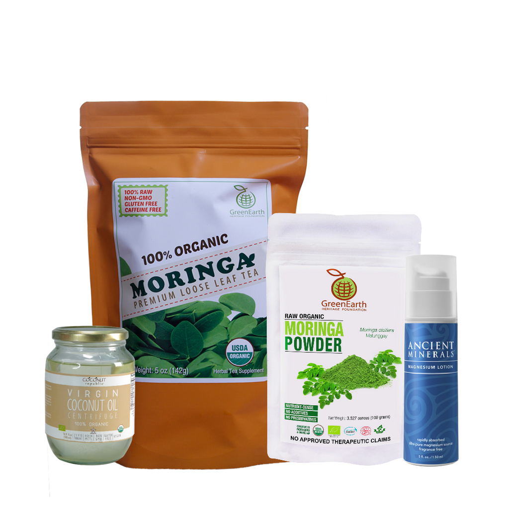 Immunity Booster Coco-Moringa Power Pack9 (Set of 4) contains GreenEarth Certified 100% Organic Moringa Loose Leaf Tea 142 g in orange resealable pouch, Moringa Powder 100 g in white resealable pouch,  Coconut Republic®  Certified 100% Organic Virgin Coconut Oil 470 ml in glass jar and Ancient Minerals Magnesium Lotion 5 oz. made of certified organic oils in eco-friendly non-breakable bottle with pump.