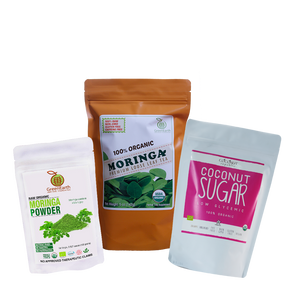 Triple Treat Energizer Combo4 (Set of 3) has Certified 100% Organic GreenEarth  Moringa Loose Leaf Tea 142 g, Moringa Powder 100 g, and Coconut Republic Coconut Sugar 250 g. Made in the Philippines.