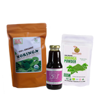 Triple Treat Energizer Combo5 (Set of 3) has Certified 100% Organic GreenEarth  Moringa Loose Leaf Tea 142 g, Moringa Powder 100 g, and Coconut Republic Coconut Syrup 350 ml. Made in the Philippines.