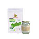Immunity Booster Coco-Moringa Power Pack1 (Set of 2) contains Moringa Powder 100 g in resealable white pouch by GreenEarth with Coconut Republic®  Certified 100% Organic Virgin Coconut Oil 470 ml in glass jar. Made in the Philippines.