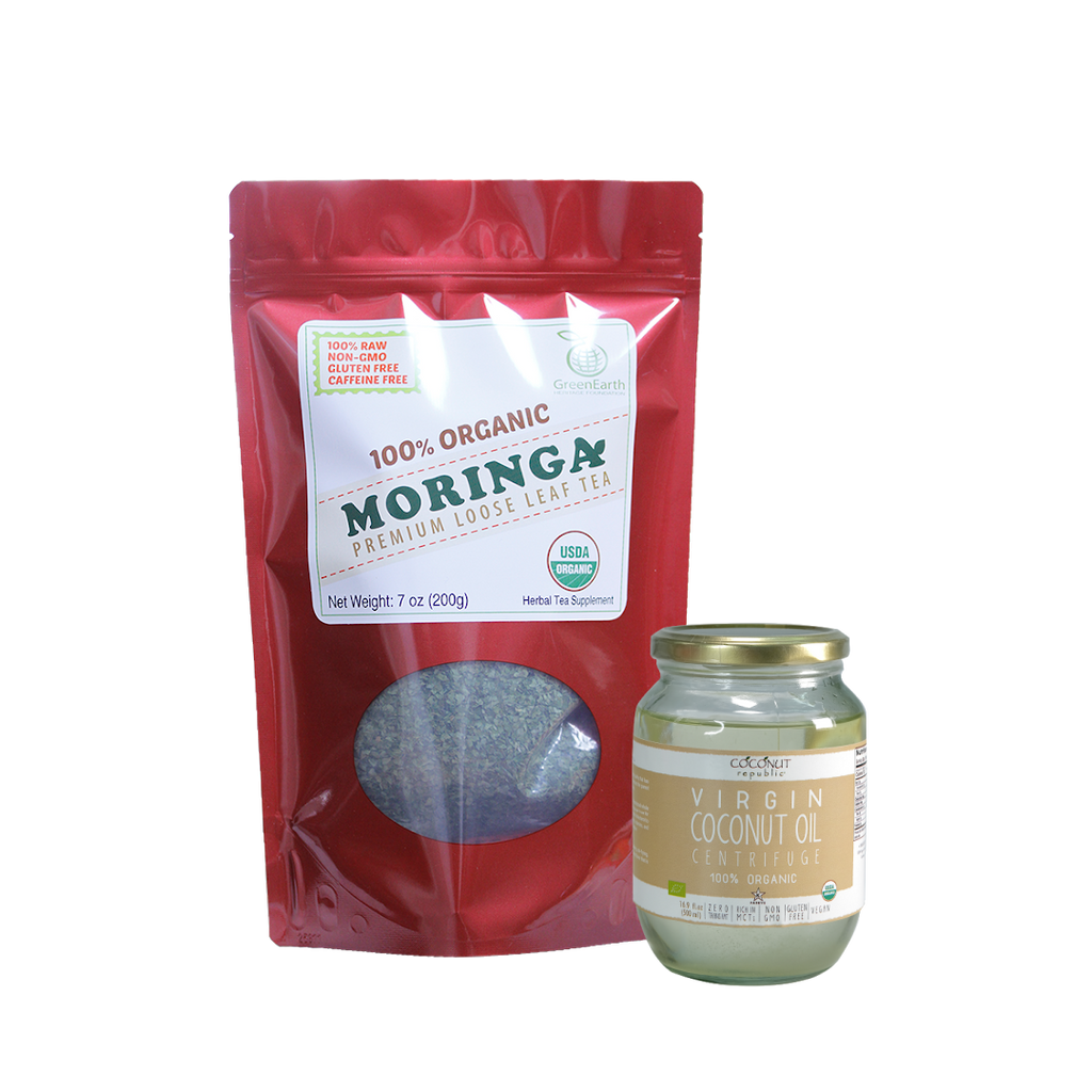 Immunity Booster Coco-Moringa Pack10 (Set of 2) contains GreenEarth  Certified 100% Organic Moringa Loose Leaf Tea 198.5 g red resealable pouch and Coconut Republic®  Certified 100% Organic Virgin Coconut Oil 470 ml in glass jar.