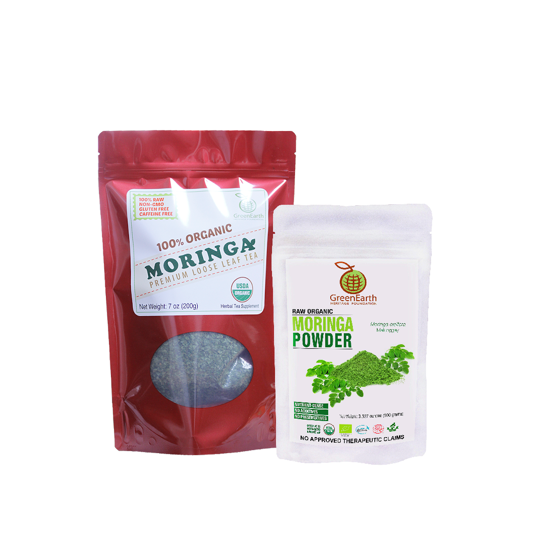 Super Saver Loose Leaf Moringa Tea 198.5 g in RED Pouch paired with Moringa Powder 100 g in White Pouch by GreenEarth